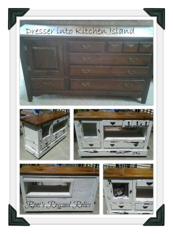 An old dresser transformed into a kitchen island or can be used as a buffet. Made by Roni's Rescued Relics on Facebook: https://www.facebook.com/RonisRescuedRelics