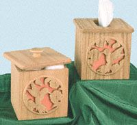 Tissue & Cotton Ball Holder Scroll Saw Pattern  This great little design holds the standard size square box of facial tissue. #diy #woodcraftpatterns