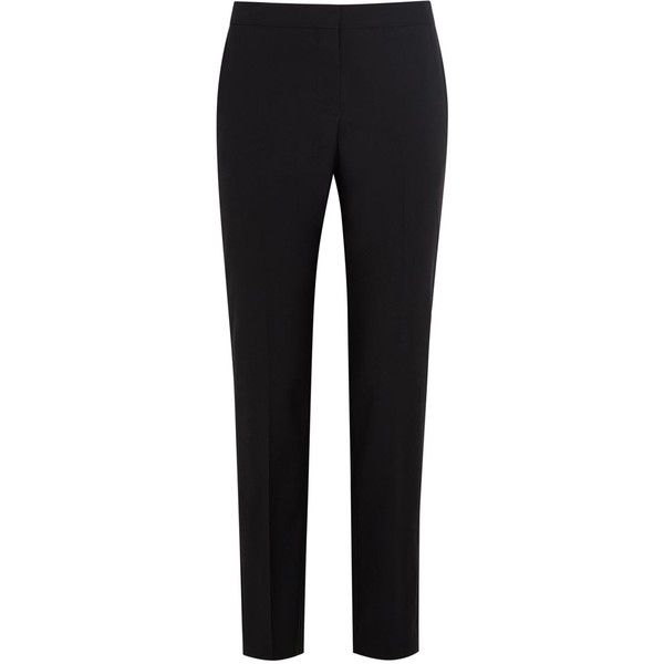 Womens Tapered Trousers Paul Smith Black Black Cropped Wool Blend Suit... ($355) ❤ liked on Polyvore