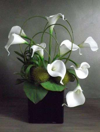 Cala Lily in Black Square Cube. Idea for a silk arrangement... beautiful.