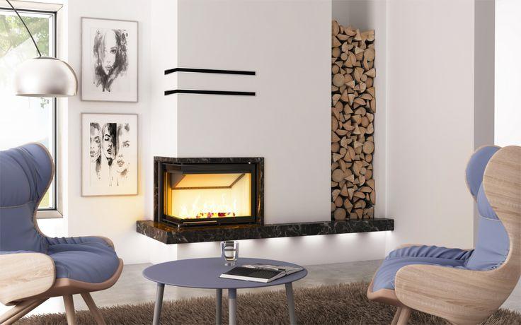 Eleganckie kominki nowoczesne - Hajduk, kominek na bazie wkładu Smart 2LXLTh #kominek #kominki #design #interior #wnętrze #dom