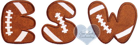 Football Letter of your choice Applique by sewluckyembroidery, $7.99 ...