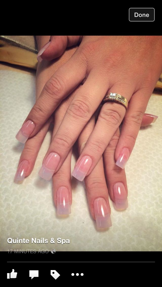 Natural Solar Gel Nails with Squared Tips