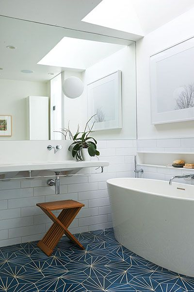 Built-in shower shelf (basement bath) & cool tile How to maximize your small space: 25 solutions - Chatelaine
