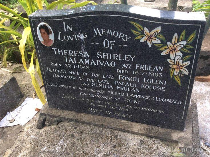 Headstone image of Theresa Shirley Talamaivao (Fruean)