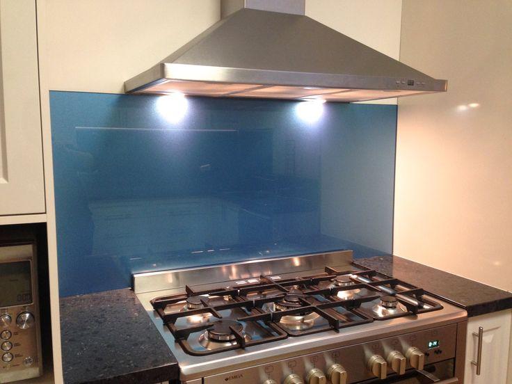 Stunning blue coloured glass splashbacks #kitchensplashback #glass #blue