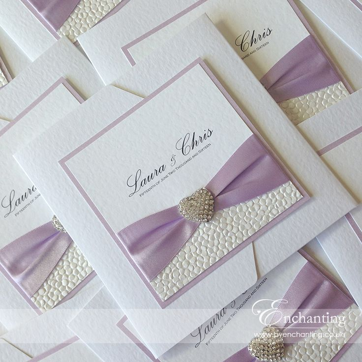 "The Ariel Collection - Pocketfold Invitation | Featuring lilac purple satin ribbon, white pebble paper and ""Seattle"" heart crystal embellishment 