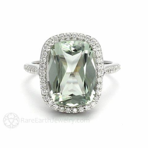 Cushion Cut Green Amethyst Engagement Ring Diamond Halo – Rare Earth Jewelry