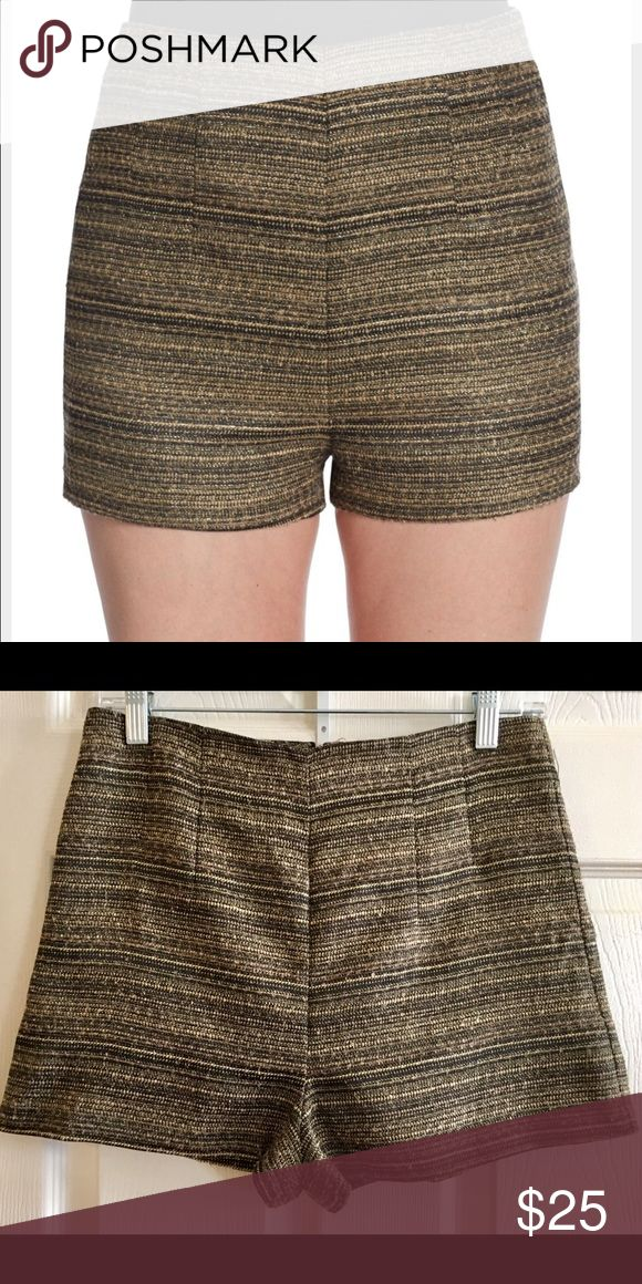 "BCBG Generation metallic High waisted shorts High waisted shorts with metallic black and gold stripes. Concealed back zipper. Rise 13"", inseam about 3"". Perfect with black tights for the cold weather or as is when it's warm out. Item is brand new. Never been worn. BCBGeneration Shorts"