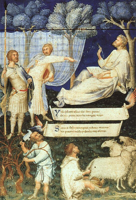 The first sheet of the Virgilio Ambrosiano Petrarch, illuminated by Simone Martini and preserved at the Pinacoteca Ambrosiana in Milan.
