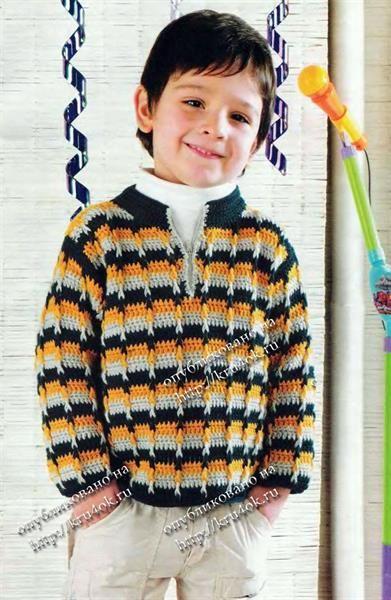 Вязание крючком свитера для мальчиков