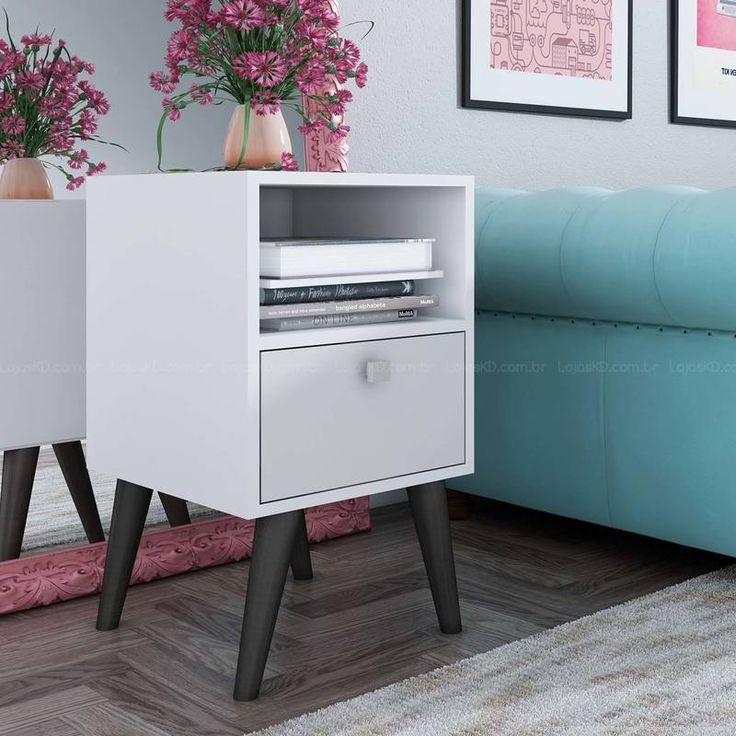 Compre Mesa Lateral/Canto com Pés Palito BPP 01 Branco/Pinhão - BRV Móveis em Promoção com ✓ Até 12x ✓ Fretinho