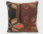 mediterranean kilim pillow 18x18 weaving decorative pillow craftship throw pillow decorative pillow bed indie pillow case brown pillow 24589