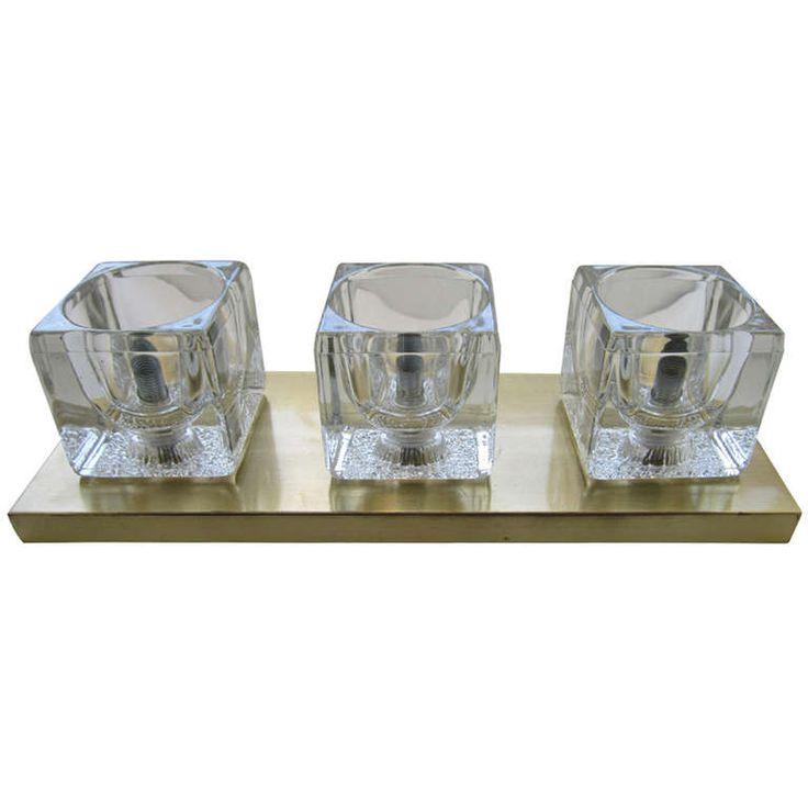 Peill & Putzler Brass and Glass Cube Light Fixture | 1stdibs.com http://www.jenniferjamesinteriors.com/
