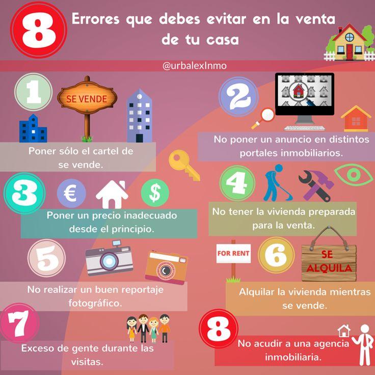 #Infografía en la que explicamos 8 errores que debes evitar a la hora de vender tu casa. #vivienda #venta