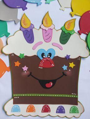 Painel para Mural Escolar, biblioteca, sala de leitura, sala de aula.  Contém o bolo, a placa de 'parabéns' e 12 bolas (uma para cada mês)  *para colocar os nomes dos aniversariantes nas bolas.      É confeccionada em EVA nas cores que desejar.    Feito sob encomenda.  O prazo é de 15 dias (tempo...