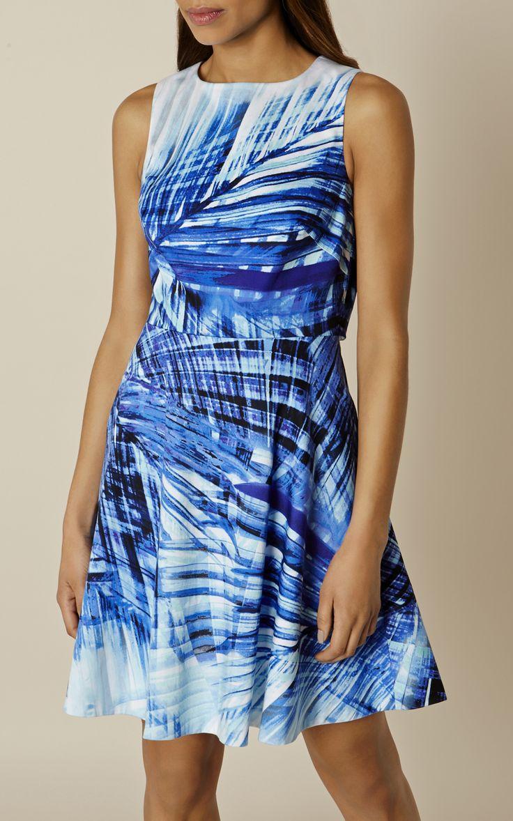 Karen Millen, BLUE PALM PRINT DRESS Blue/Multi