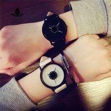 Caliente de la manera creativa relojes mujeres hombres cuarzo reloj 2017 BGG marca de línea única de diseño de los amantes del reloj reloj de pulsera de cuero
