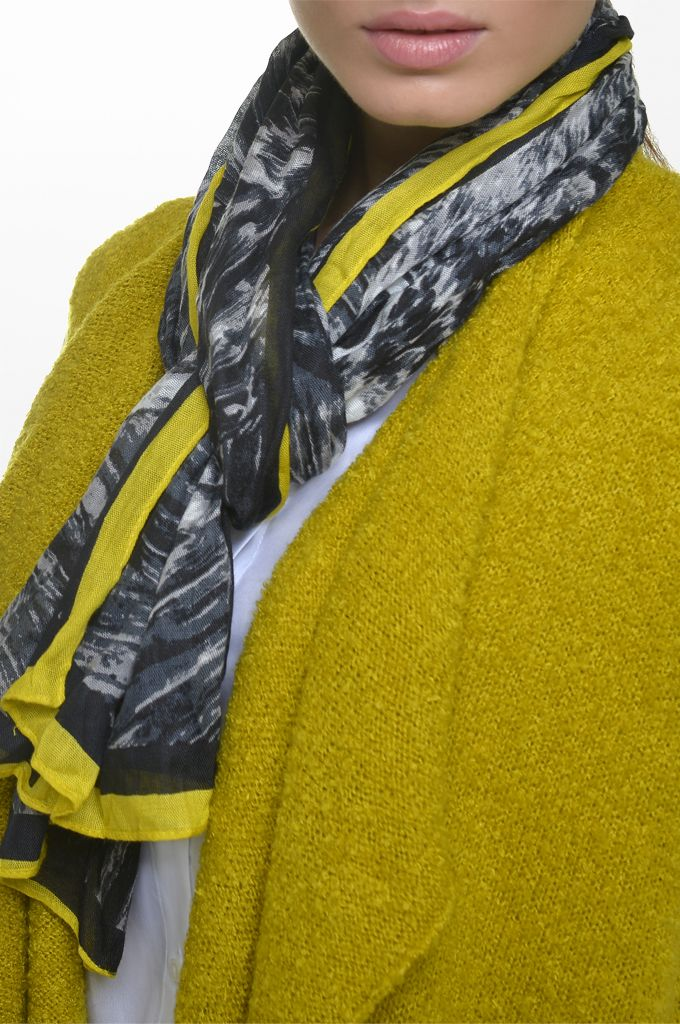 Sarah Lawrence - asymmetrical knitted vest, long sleeve shirt, printed scarf.