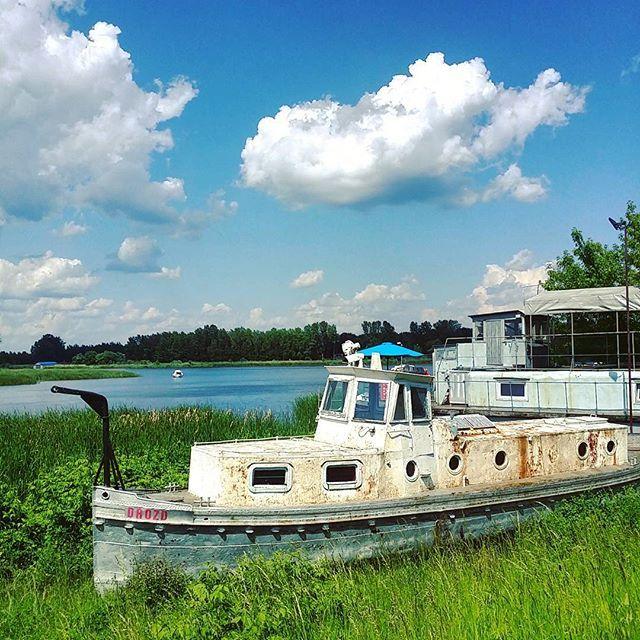 Nie ma nic prostszego, niż wyjść z chałupy i zobaczyć piękne rzeczy. #neirawypełzaznory  #statek #ship #jezioro #zalew #pięknapogoda #view #widok #doki #beautifulweather #wrak #dock #wreck #lake #wycieczka #trip