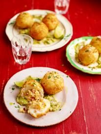 Causa croquettes stuffed with spicy seafood