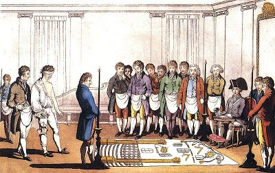 The Magic Behind The Secret Lodges - the picture shows a Freemasons initiation from about 1800
