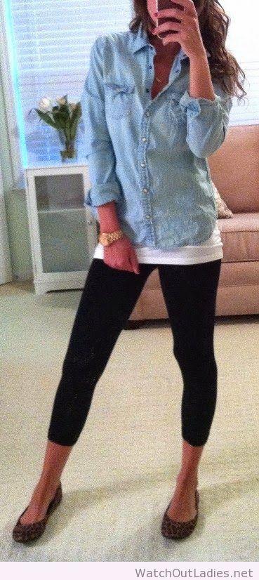 Light Blue Jeans Shirt, White Singlet, Black Lasin, Tigger Ballet Flats, Golden Watch