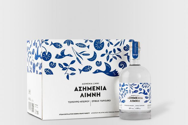 This spirit reminds us of the blue and white scenery of Mykonos and   Santorini. Kommigraphics Design Studio designed the packaging for Asimenia   Limni, a variety of Tsipouro, which is a specialty pomace brandy that is   made specifically in Greece