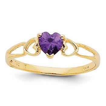 14k Yellow Gold 5mm Round Heart Amethyst Birthstone Ring