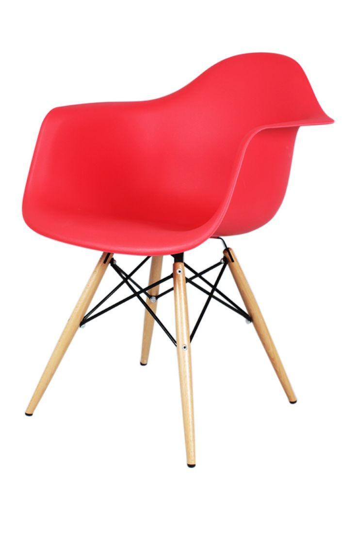 Red Mid-Century Eiffel Arm Chair with Wooden Dowel Legs
