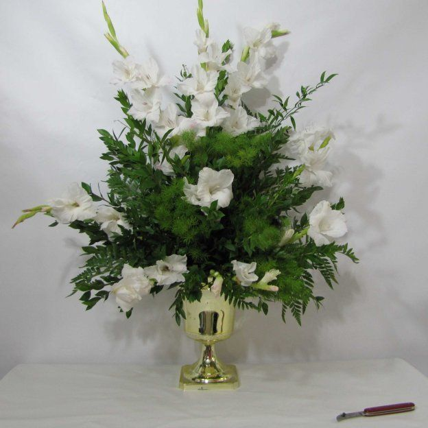 Gladiolus Wedding Flowers in a Church Altar Spray; Free step by step flower tutorials for church, bouquets, centerpieces, corsages and more