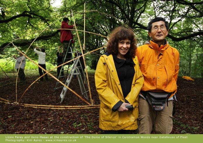 Celebrated Japanese bamboo sculptor Ueno Masao creates Scottish woodland work. Pictured with Lizzie Farey, photo Kim Ayres.