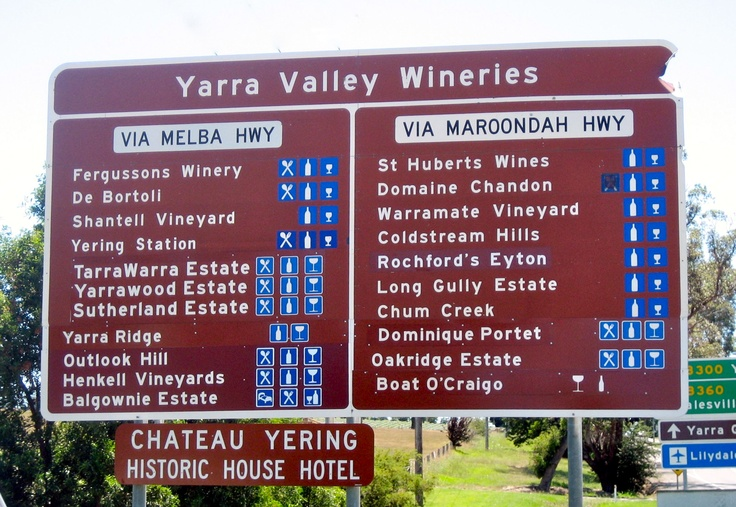 Yarra Valley Wineries on the Yarra Valley side on the way to (and past) Healesville and Yarra Glen