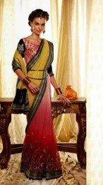 Yellow Color Sizzling Embroidered Designer Sari