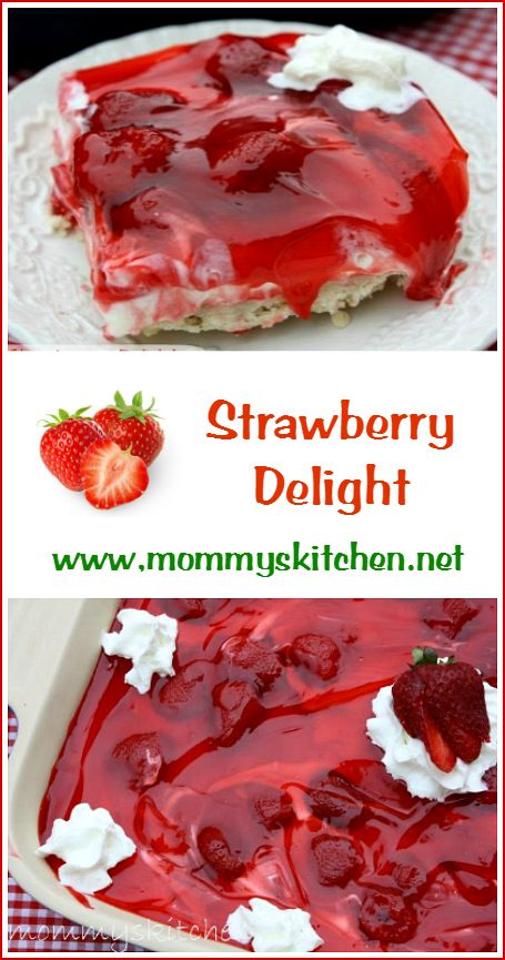 Strawberry Delight by @mommyskitchen This easy recipe starts with a buttery pecan shortbread cookie crust that is baked and topped with a creamy filling made with cream cheese and dream whip. Top with Strawberry pie filling and your done. #summer #strawberries #mommyskitchen #delightrecipe