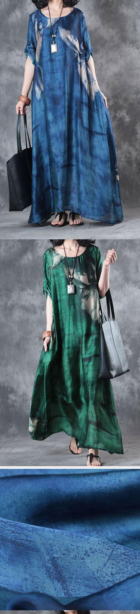 blue print silk dresses oversize draping sundress short sleeve maxi dress
