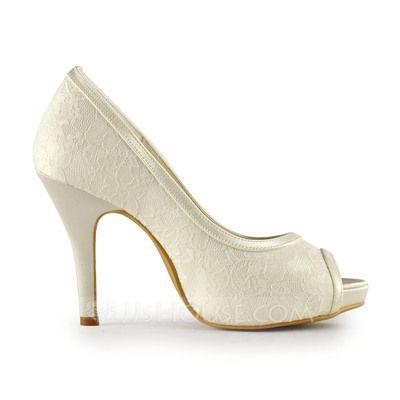 Women's Lace Satin Stiletto Heel Peep Toe Platform Sandals (047011229)