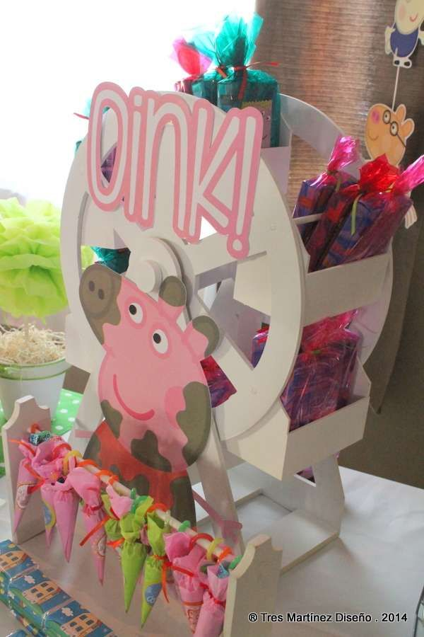 Fun treats at a Peppa Pig birthday party!  See more party planning ideas at CatchMyParty.com!