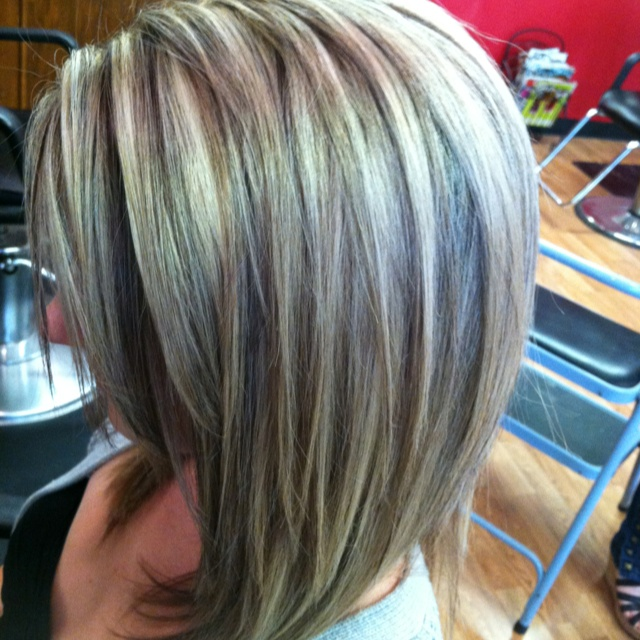 Gray and Low Lights Hair Color