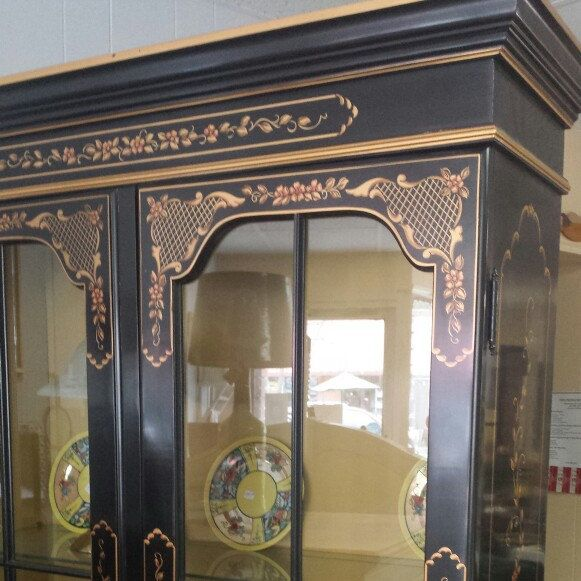 Chinoiserie china cabinet for sale with nationwide delivery in our Etsy shop. USA.