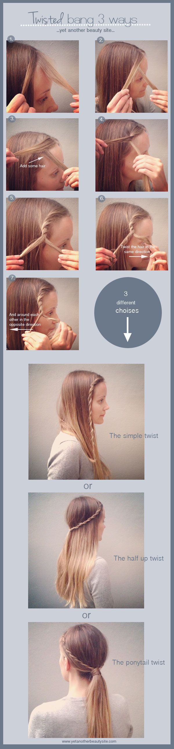 3 different Hair Twist ideas- Easy ideas for older kids to do themselves.