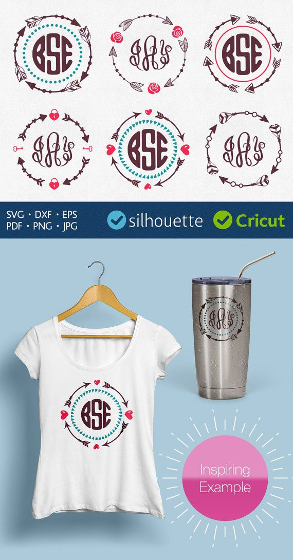 Circle arrow monogram svg Download cricut initial by PlayCut