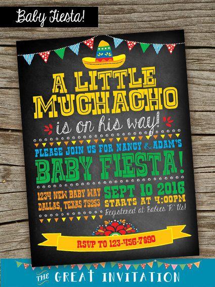Fiesta bebé ducha invitación / invitación de pizarra de Fiesta