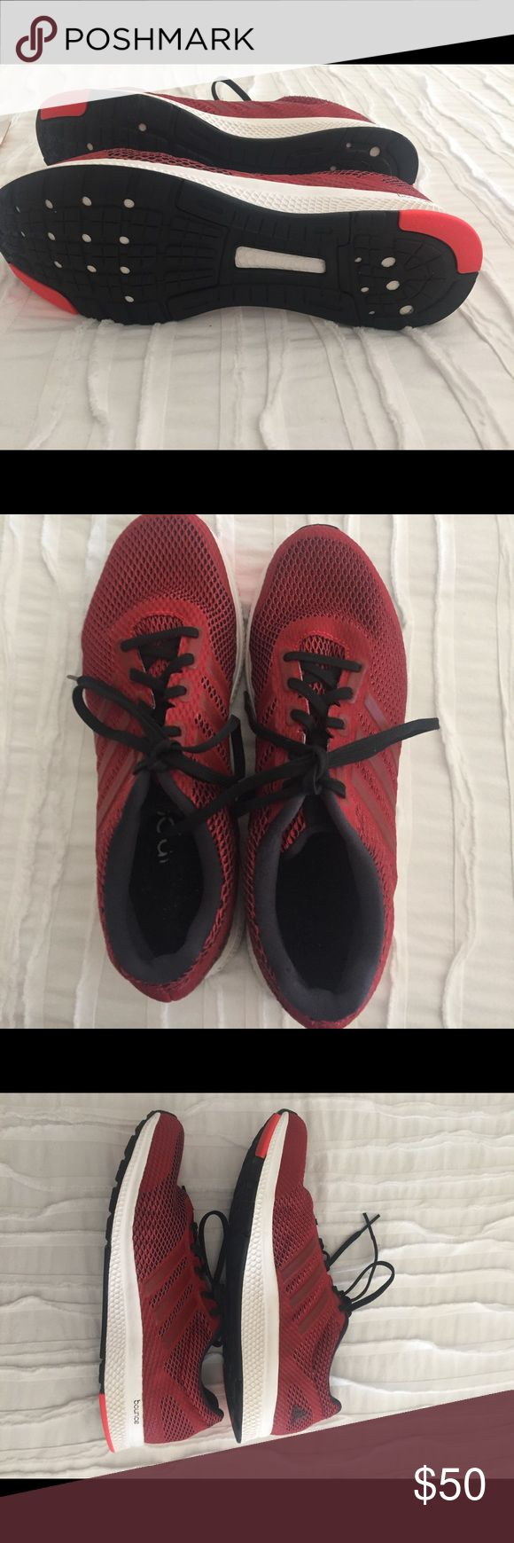Adidas 91/2 men running shoes like new Adidas red running shoes like new adidas Shoes Athletic Shoes