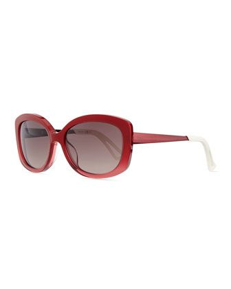 Plastic Rectangle Sunglasses, Red by Dior at Neiman Marcus.