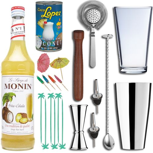 <strong>Perfect Pina Colada Cocktail Set in Presentation Box</strong> -Mix up the Perfect Pina Colada with this fab and fun gift set, ideal for the cocktail lover in your life!Melt away to a Caribbean beach, with thePerfect Pina Colada mouth-watering blend of pineapple and coconut perfect for Pina Coladas and also in delicious non-alcoholic smoothies, desserts, cocktails, fruit punches, teas and mochas.