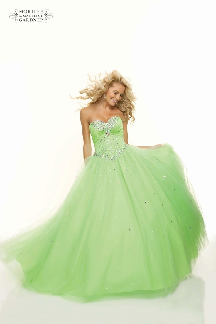 Lime Green School Prom Dress by Mori Lee