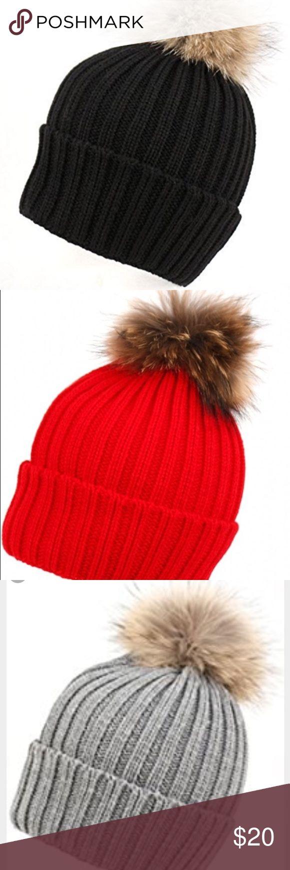 ❄️♀️Warm Fur Pom Pom Knit Hat ✨ Warm, Cable Knit, Raccoon Fur Pom Pom Hats Accessories Hats