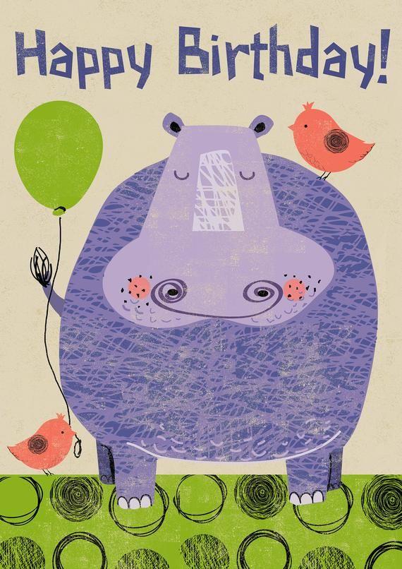 Hippo Happy Birthday Card Etsy Happy Birthday Cards Happy Birthday Greeting Card Happy Birthday