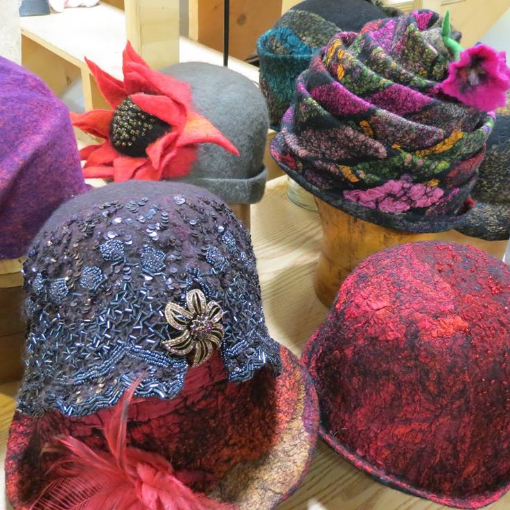 A sampling of the hats that I had on display for our Nuno-felt hats workshop at New England Felting Supply. Hats by Dawn Edwards, http://www.feltsoright.com